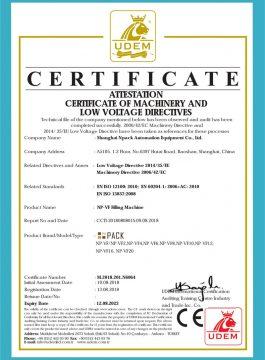 Dolum makinası CE Belgesi